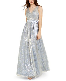 Juniors' Metallic Mesh Gown