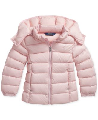 RALPH LAUREN POLO Girls Jacket Kids Small Quilted Coat Size 7 White