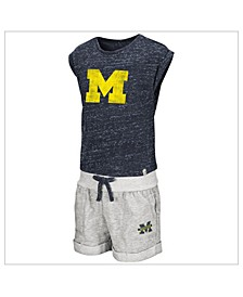 Toddlers Michigan Wolverines Cuffed Tee and Short Set