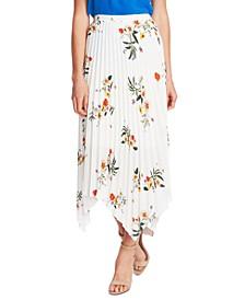 Floral-Print Asymmetrical-Hem Skirt