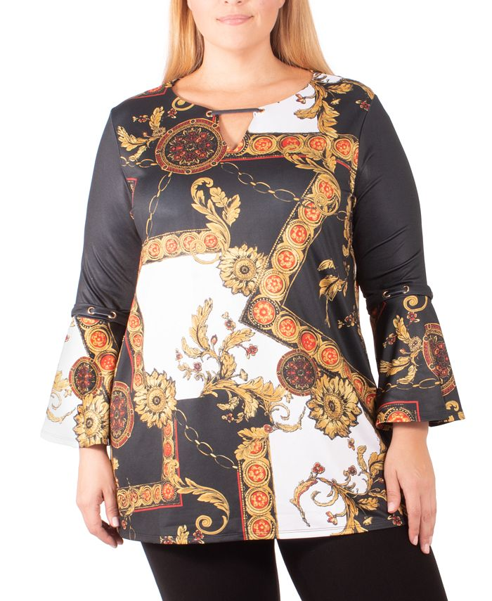 NY Collection - Plus Size Grommet-Trim Tunic