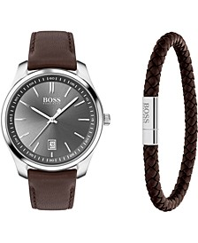 Men's Bracelet & Circuit Brown Leather Strap Boxed Watch 42mm Gift Set