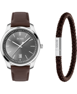 Boss Men's Bracelet & Circuit Brown Leather Strap Boxed Watch 42mm Gift Set