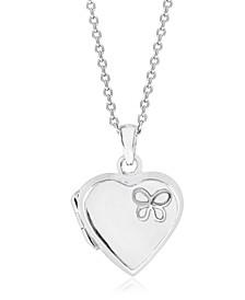 Children's  Butterfly Heart Locket  in Sterling Silver