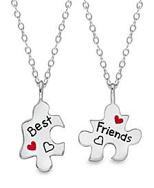 Children's  Puzzle Pieces Best Friends 2-Piece Necklace Set in Sterling Silver