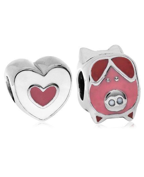 Rhona Sutton Children's  Enamel Piglet Heart Bead Charms - Set of 2 in Sterling Silver