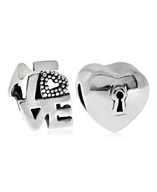 Children's  Love Lock Bead Charms - Set of 2 in Sterling Silver
