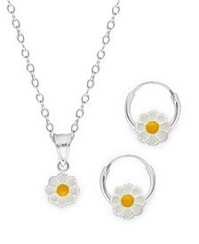 Children's  Daisy Pendant Necklace Hoop Earrings Set in Sterling Silver