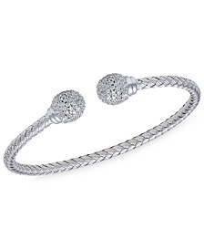 Crystal Ball  Cuff Bangle in  Sterling Silver