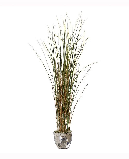 Nearly Natural 40in. Grass and Bamboo Artificial Plant in Designer Silver Bowl
