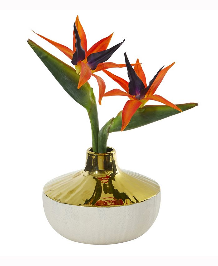 Nearly Natural - 14in. Bird of Paradise Artificial Arrangement in Gold and Cream Elegant Vase