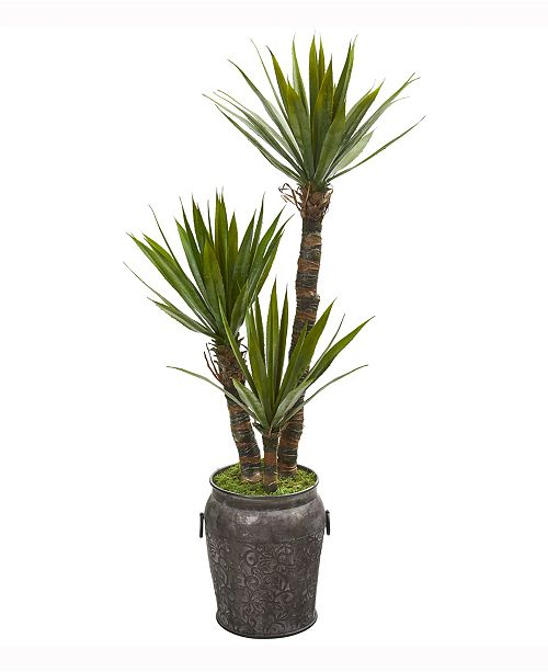 Nearly Natural 54in. Yucca Artificial Tree in Metal Planter