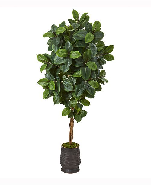 Nearly Natural 78in. Rubber Leaf Artificial Tree in Ribbed Metal Planter
