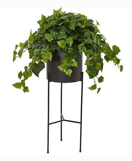 Nearly Natural 49in. London Ivy Artificial Plant in Black Planter with Stand Real Touch
