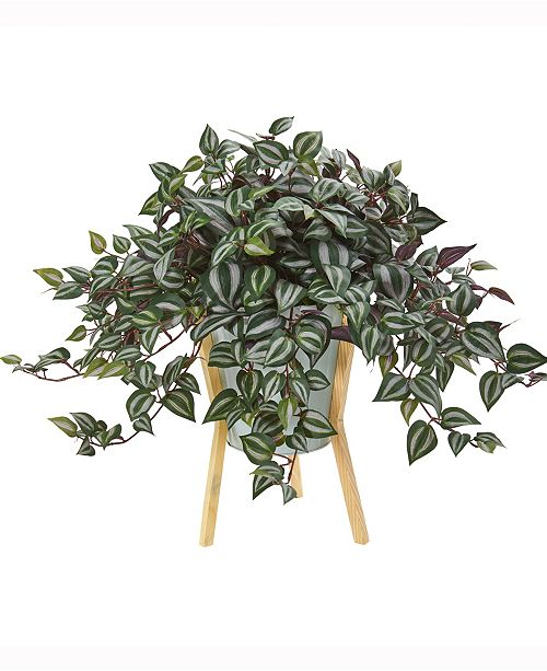 Nearly Natural 21in. Wandering Jew Artificial Plant in Green Planter with Legs