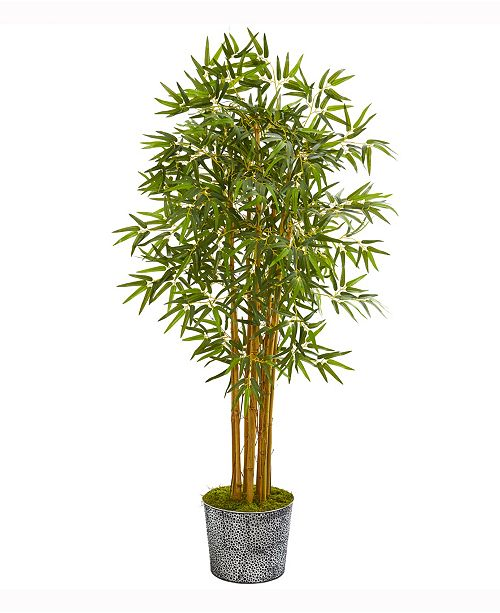 Nearly Natural 5ft. Bamboo Artificial Tree in Black Embossed Tin Planter