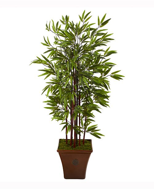 Nearly Natural 57in. Bamboo Artificial Tree in Brown Planter