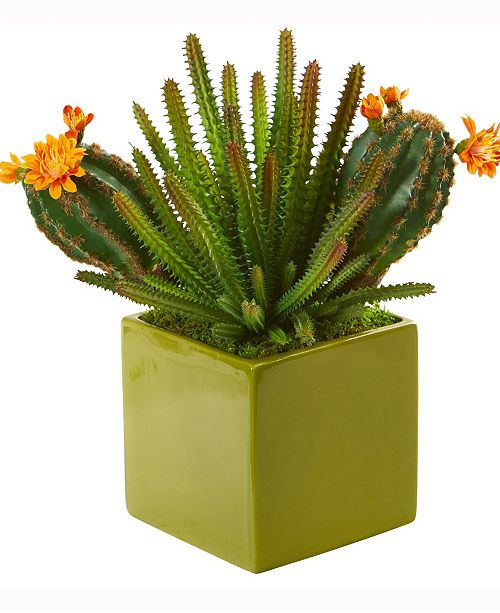 Nearly Natural 10in. Mixed Succulent Artificial Plant in Green Planter