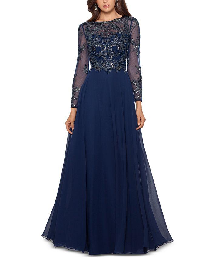 XSCAPE - Embellished Chiffon Gown