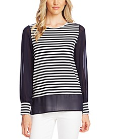 Striped Mixed-Media Top