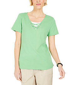 Karen Scott Lace-Up Layered-Look Top, Created for Macy's