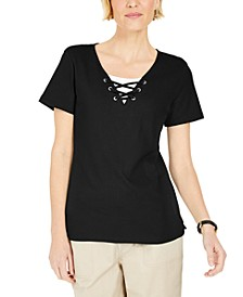 Lace-Up Layered-Look Top, Created for Macy's