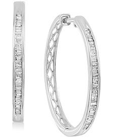 """Diamond Baguette Medium Hoop Earrings (1/2 ct. t.w.) in Sterling Silver, 1.8"""""""
