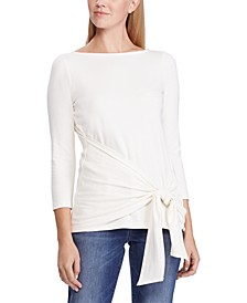 3/4-Sleeve Wrap Top