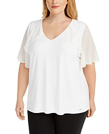 Plus Size Sheer-Sleeve Ruffle Top
