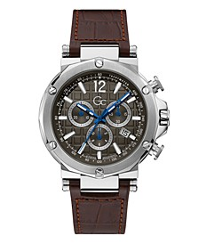Gc Men's Spirit Chrono Genuine Brown Leather Strap Watch 44mm