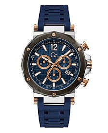 Gc Men's Spirit Chrono Blue Silicone Strap Watch 44mm