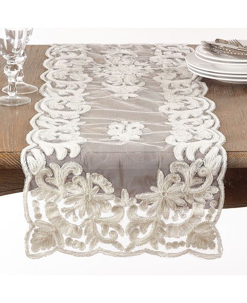 Saro Lifestyle Ivory Beaded and Embroidered Table Runner