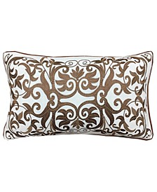 "Gold Collection Allover Scrolls Embroidery Lumbar Pillow, 12"" x 20"""