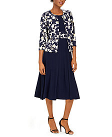 Jessica Howard Midi Dress & Floral-Print Jacket
