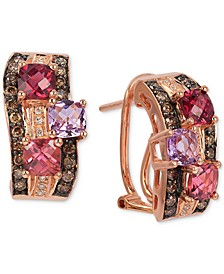 Multi-Gemstone (1-3/4 ct. t.w.) & Diamond (3/8 ct. t.w.) Hoop Earrings in 14k Rose Gold
