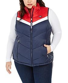 Plus Size Colorblocked Puffer Vest