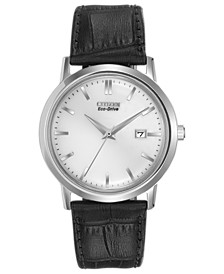 Eco-Drive Men's Corso Black Leather Strap Watch 40mm