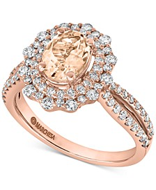 Gemstone Bridal by Morganite (1/2 ct. t.w.) & Diamond (7/8 ct. t.w.) Engagement Ring in 14K Rose & Yellow Gold