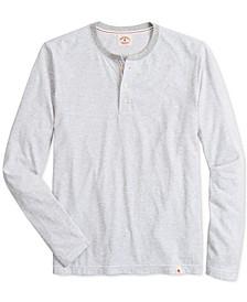 Men's Red Fleece Striped Henley Shirt