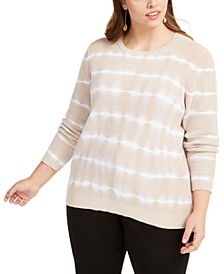 INC Plus Size Cotton Tie-Dyed Sweater, Created for Macy's