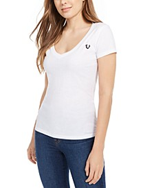 Women's Double Puff Rounded V Neck Tee