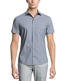 Men's Performance Stretch French Placket Square Print Short Sleeve Shirt