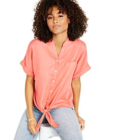 Petite Linen Tie-Front Shirt, Created for Macy's