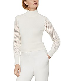 Mesh-Sleeve Turtleneck Sweater