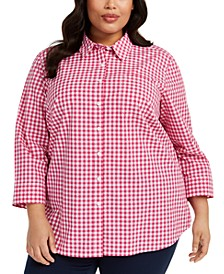 Plus Size Cotton Gingham Shirt, Created for Macy's