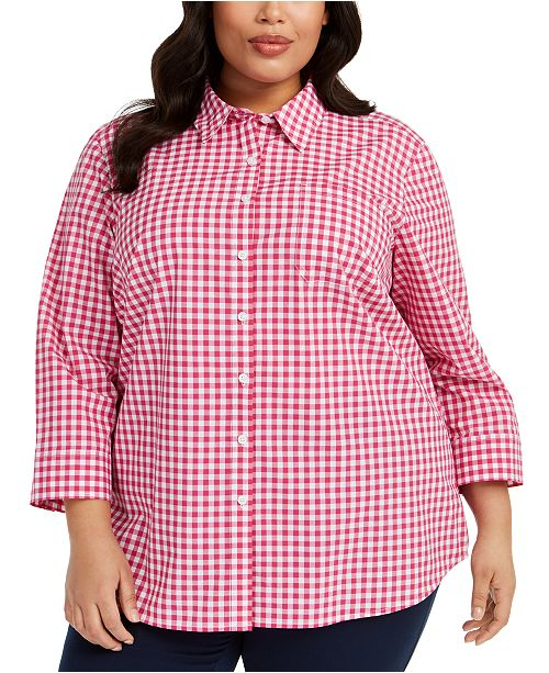 Karen Scott Plus Size Cotton Gingham Shirt, Created for Macy's