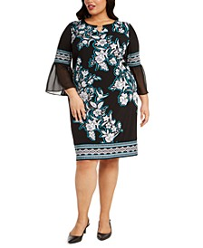 Plus Size Printed Chiffon-Cuff Dress, Created for Macy's