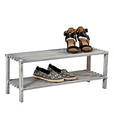 2-Shelf Shoe Rack, Gray