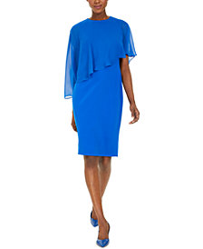 Calvin Klein Petite Chiffon-Popover Sheath Dress