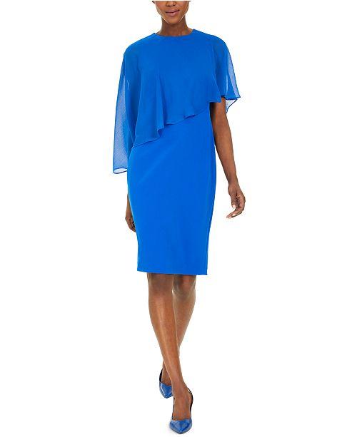 Calvin Klein Chiffon Capelet Sheath Dress
